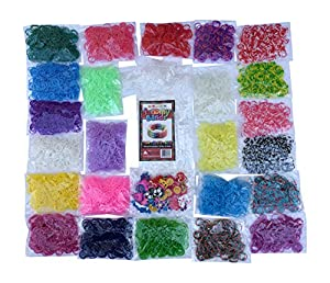 6400pc Jumbo Rainbow Loom Refill Kit - 30+ Beautiful Colors and Styles Including Neon Glow in the Dark and Tie Dye Loom Bands - BONUS 300 Clips and 50 Charms Included ..