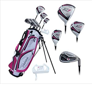 """Aspire X1 Ladies Womens Complete Right Handed Golf Clubs Set Includes Titanium Driver, S.S. Fairway, S.S. Hybrid, S.S. 6-PW Irons, Putter, Stand Bag, 3 H/C's Cherry Pink Petite Size for Ladies 5'3"""" and Below!"""