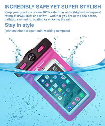 Voxkin--PREMIUM-QUALITY--Universal-Waterproof-Case-including-ARMBAND--COMPASS--LANYARD-Best-Water-Proof-Dustproof-Snowproof-Bag-for-iPhone-6S-6-6-Plus-5-Galaxy-S6-S5-Note-4-or-Any-Phone