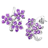 Sterling Silver 3 Amethyst Flowers Earrings
