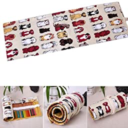 36pcs Pencil Roll Wrap Holder Colored Sketching Drawing Brush Paint Pen Case Dog