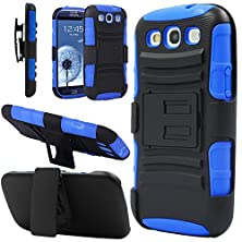 buy Galaxy S3 Case, Hengtech (Tm) [Heavy Duty] Armor Holster Defender Full Body Protective Hybrid Case Cover With Kickstand & Belt Swivel Clip For Samsung Galaxy S3 S Iii I9300 (Black+Blue)