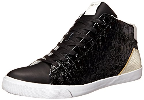 Just Cavalli Men's Croco Soft Leather Fashion Sneaker, Black, 39 EU/6 M US