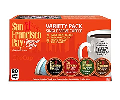 San Francisco Bay Onecup Variety Pack Coffee - 80 Count Onecup For K-cup Brewer - Caffeinated - Breakfast Blend Rainforest Fog Chaser French Roast by San Francisco Bay