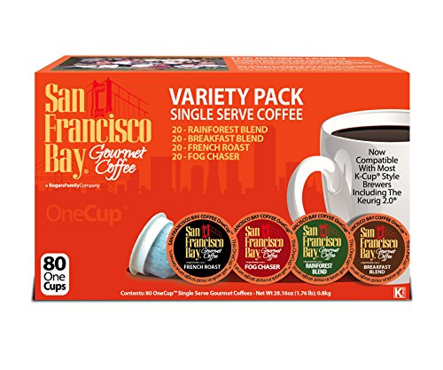 San Francisco Bay Onecup Variety Pack Coffee - 80 Count Onecup For K-cup Brewer - Caffeinated - Breakfast Blend Rainforest Fog Chaser French Roast (San Francisco Bay Keurig Coffee compare prices)