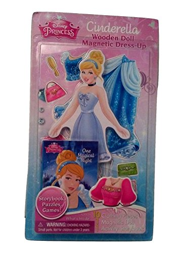 Cinderalla Wooden Doll Disney Princess Magnetic Dress-Up Play Set Plus BONUS Story Book Puzzles and Games