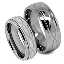 buy Matching Tungsten Wedding Band Set, Infinity Ring Set For His And Her, Classy, 8Mm And 6Mm