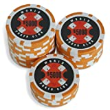 Sleeve of 25 World Poker Club $5000 Orange Poker Chips Clay 14gby Bullets Poker