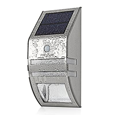 PROZOR Wireless Solar Light Solar Powered Motion Sensor Light LED Solar Lighting Wall Light Lamp Security Light Night Light Waterproof for Pathway Gutter Yard Garden Fence Path Security Water Resistant
