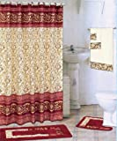 Burgundy 18-piece Bathroom Set: 2-rugs/mats, 1-fabric Shower Curtain, 12-fabric Covered Rings, 3-pc. Decorative Towel Set