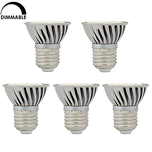 Hero-Led Dimmable Par16 E26 / E27 4.8W Led Bulb, 5-Pack, 50W Halogen Replacement, Short Neck, Cool White