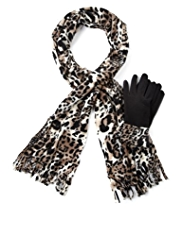 M&S Collection Animal Print Fleece Scarf & Gloves Set