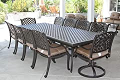 Heritage Outdoor Living Cast Aluminum Nassau Outdoor Patio 11pc Dining Set with 46