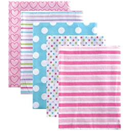 Luvable Friends Flannel Receiving Blankets, Pink, 5 Pack