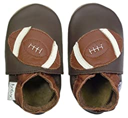Bobux Soft Sole Eco Leather Crib Shoes, Pre-Walker (crib shoe), Football, Size Small