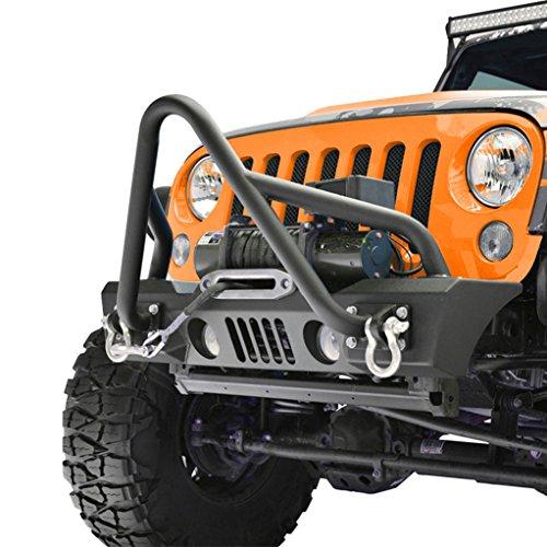 GSI-07-16-Jeep-Wrangler-JK-Black-Textured-Stubby-Stinger-Front-Bumper-w-OE-Fog-Lights-Hole-2x-D-Ring-Winch-Plate