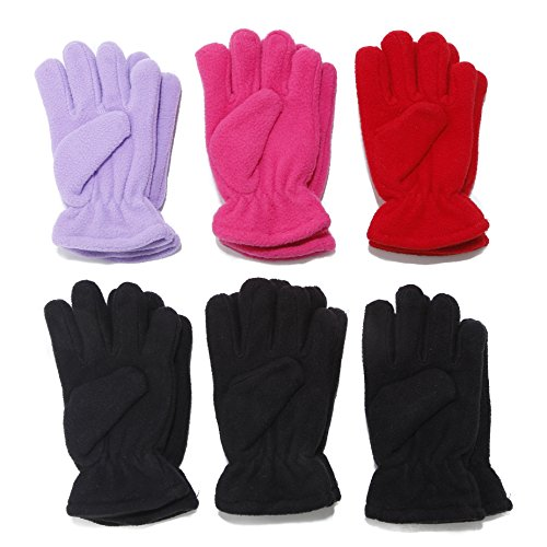 Kids Soft and Warm Fleece Lined Gloves 6-pack Boys Or Girl Colors Size 4-6 (Girls) (Or Gloves Kids compare prices)