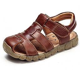 DADAWEN Boy\'s Girl\'s Closed Toe Outdoor Sandal (Toddler/Little Kid/Big Kid) Brown US Size 8 M Toddler