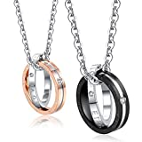 Areke His & Hers Couples Stainless Steel Love Necklace,Engraved Double Ring CZ Pendant Chain Necklaces Style Ring Pendants