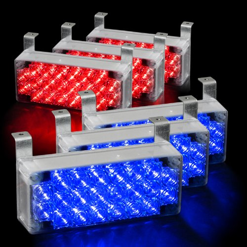 132 Led Emergency Warning Flashing Strobe Lights With 3 Mode Controller - Red & Blue