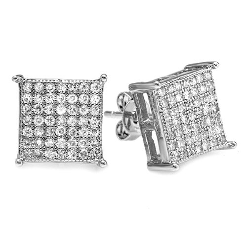 Platinum Plated Clear CZ Cubic Zirconia Cube Shaped Hip Hop Iced Cube Stud Earrings 9.5 mm x 9.5 mm )