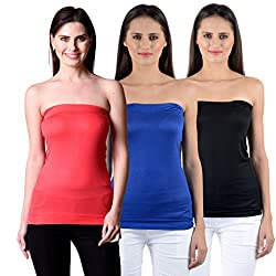NumBrave Women's Red, Blue, Black Tube Top (Combo of 3)