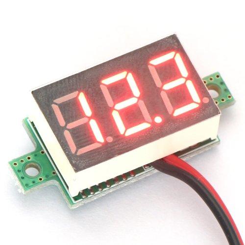 DROK Two-wires Digital Voltage Panel Meter Motorcycles Volt Guage 5V/12V 2.50-32V Red LED Voltmeter Battery Tester