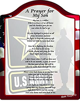 A Prayer for my Son the Soldier (US Army) Touching 8x10 Poem with Full Color Graphics - Professionally Printed onto Chromaluxe Arch Panel with Easel Back