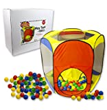 Play Tent with 100 Balls- Indoor and Outdoor Easy Folding Ball Pit with Carrying Case