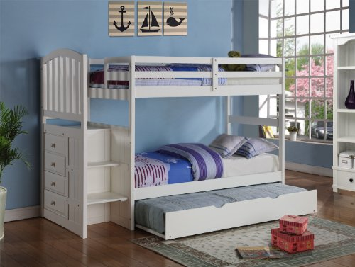 Arch Mission Stairway Bunk Bed  Trundle in White
