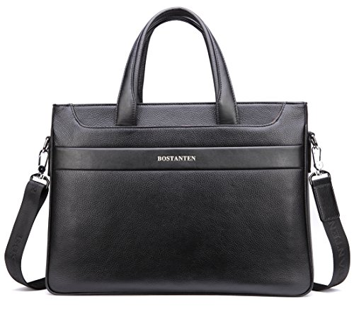 BOSTANTEN Men's Stylish Leather Briefcase Laptop Cross-body Shoulder Bag Black (Classic Leather Briefcase compare prices)
