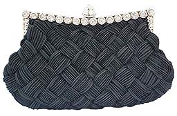 Chicastic Pleated and Braided Rhinestone studded Wedding Evening Bridal Bridesmaid Clutch Purse - Black