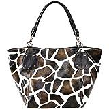 FASH Giraffe Print Faux Leather Tote Shoulder Handbag,Brown,One Size