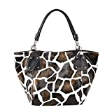 FASH Christmas Sale! Giraffe Print Faux Leather Tote Shoulder Handbag,Brown,One Size (Apparel)