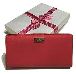 Kate Spade Newbury Lane Stacy Saffiano Leather Clutch Wallet WLRU1601 (Peony)