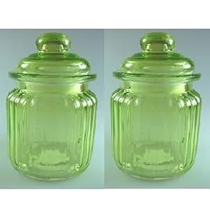 2 kleine, grüne Glasdosen / Bonbongläser / Vorratsdosen ca. Ø 7,5 cm im shabby-chic Landhaus- Stil