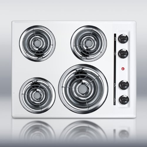 Summit WEL03 24 Electric Cooktop 4 Coil Elements - White (Electric Cooktop Coil compare prices)