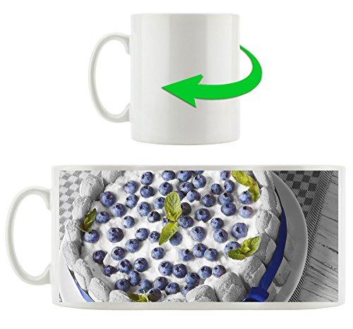 Délicieux tarte aux bleuets noir / blanc, motif tasse en blanc 300ml céramique, Grande idée de cadeau pour toute occasion. Votre nouvelle tasse préférée pour le café, le thé et des boissons chaudes.