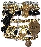 CAT HAMMILL ( キャットハミル ) オーストラリア の ゴージャス brave ブレイブ ブレスレットセット chunky bracelet set a1 gold black ブラック ゴールド タッセル ブレスレット ポーチ ゲット 海外 ブランド
