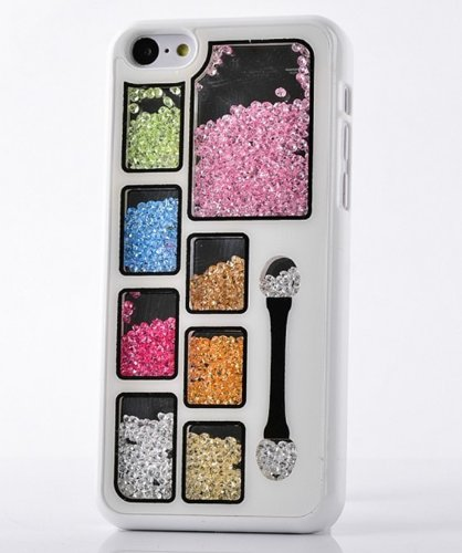 Big Mango Deluxe Bling Colorful Eyeshadow Cosmetic Box Moving Diamond Protective Shell / Hard Back Case Cover for Apple iPhone 5C ( At&t, Sprint, Verizon ) - White (I Phone 5c Cases Gems compare prices)