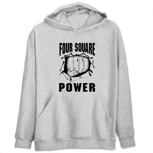 Four Square Power Sports Mens Hoodie (Heather Gray, Size Large)
