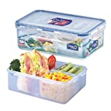 Lock & Lock Rectangular Food Container with Divider, Short, 4.1-Cup, 34-Fluid Ounces