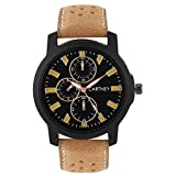 #8: CARTNEY Stylish Analogue Black Dial Leather Strap Round Shape Men's Watch - C44-Y5