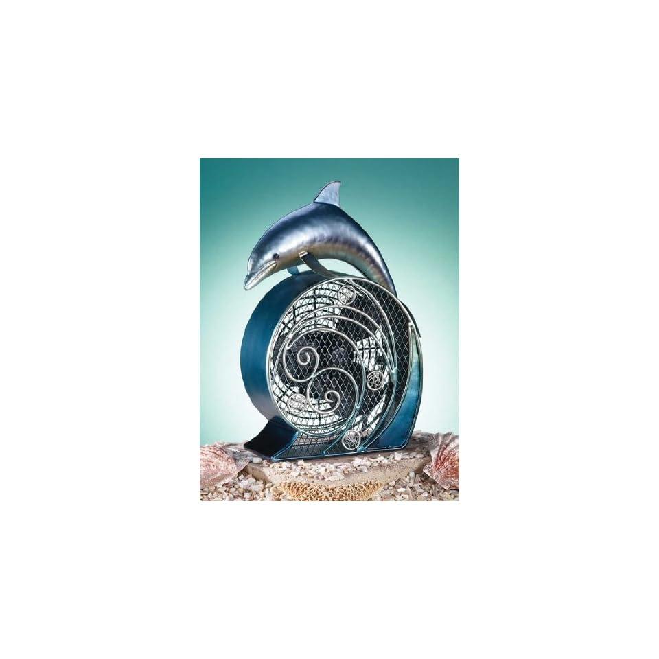 Deco Breeze Dolphin On Wave Figurine Table Desk Air Fan Metallic NEW