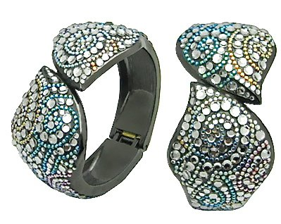 Lz New York Swarovski Crystallized Celebrity Style Cloud Design Gunmetal Bangle With Aquamarine, Jonquil, Rose, Tanzanite, Sun