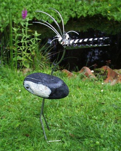 therese stehend gartenfigur und gartendeko als steinvogel aus edelstahl und stein ca 35 cm hoch. Black Bedroom Furniture Sets. Home Design Ideas
