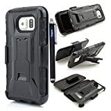 Galaxy S 6 Case,Samsung Galaxy S6 case cover,Slim Belt Case & Belt Clip Holster with Kickstand [Integrated X series Back Clip][Heavy Drop Protection] Ultra Thin GRIPshell - Samsung Galaxy S 6 ,3 in 1 3-piece Combo Hybrid Armor Defender Full Protection [Heavy Duty] back Clip Holster with Kickstand ArmoCase Series with [Kickstand Funtion] and Rotating Belt Clip [HOLSTER] for Samsung Galaxy S6,High Impact Body Armor Hard flexible and durable PC and TPU material Hard Case Cover Protector For Samsung Galaxy S6 New 2015 Release with one stylus pen/1 screen touch pen (Vogue shop-black)
