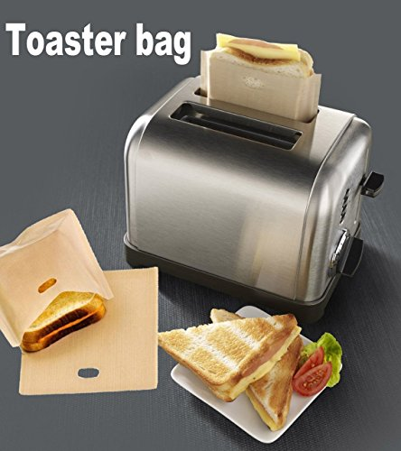 ALAIX Toaster bags Reusable 100 use Non-Stick Sandwich/Snack Make Cheeze Toasties In a Toaster Grilling Bag, 2 Pack