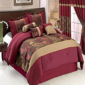 Diana Chocolate and Burgundy Queen Size Luxury 7-Piece Comforter Set including Comforter, Skirt, Throw Pillows and Pillow shams by Royal Hotel