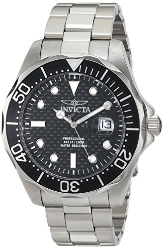 Invicta Men's 12562X Pro Diver Black Carbon Fiber Dial Stainless Steel Watch (Carbon Fiber Dial Watch compare prices)